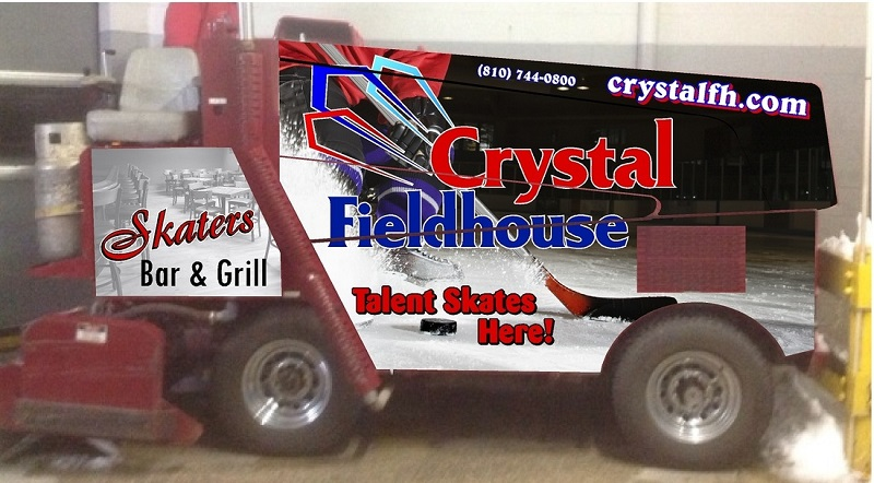 Zamboni Advertising Crystal Fieldhouse - Flint, Grand Blanc, Burton, Davison, Swatz Creek and all of Southeast Michigan.